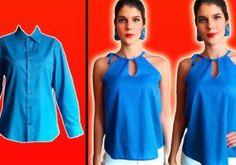 Mi Mundo De Moda – Cursos de Costura – Curso de Costura Confeccion patrones gratis moda y alta costura Remake Clothes, Sewing Clothes, Diy Clothes, T Shirt Hacks, Shirt Refashion, Cycling Outfit, Athletic Tank Tops, Shirts, Outfits