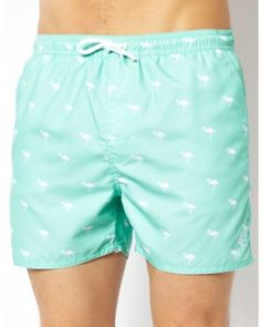 2573a26b9d French Connection | Green Flamingo Swim Shorts for Men #Lyst French  Connection, Swim Shorts