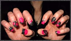 cute pink and black acrylic nails