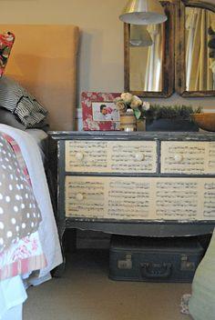 Decoupage Music Sheet Dresser...would be so cute as storage in a studio!