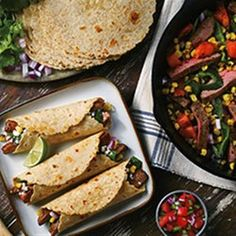 Charred Corn and Heirloom Tomato Steak Fajitas from Mission®