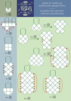 schemes for crochet granny square bags! good idea for using fabric scraps too schemes for crochet granny square bags! good idea for using fabric scraps too was last modified: April…Taschen aus Grannys - Schematics for granny square bags - Super use Sac Granny Square, Point Granny Au Crochet, Motifs Granny Square, Granny Square Crochet Pattern, Crochet Diagram, Crochet Chart, Crochet Squares, Granny Squares, Square Blanket