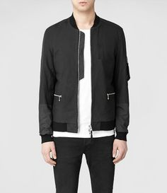 Mens Amity Leather Bomber Jacket (Black) | ALLSAINTS.com