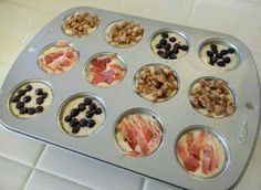 Pancake Muffins - Pancake mix with meat, nuts, or berries (mmm, chocolate chips). Pour into mini muffin cups and bake abt 12 min until cooked thru. Freeze for on-the-go breakfast.