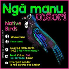 New Zealand Native Birds *Te Reo Maori* Fun Classroom Activities, Counting Activities, Language Activities, Art Activities, Birds For Kids, Art For Kids, Teaching Aids, Teaching Resources, Kiwiana