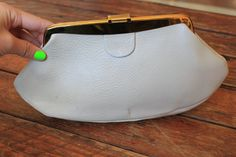 Vintage White Leather Clutch by theDarlingVintage on Etsy, $15.00