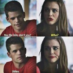 Teen Wolf - Aiden and Lydia this isn't what they actually said if I recall they were talking about aiden helping kill Boyd but this is so cute though (: