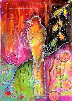 Hey, I found this really awesome Etsy listing at https://www.etsy.com/listing/253282267/original-mixed-media-painting-bird