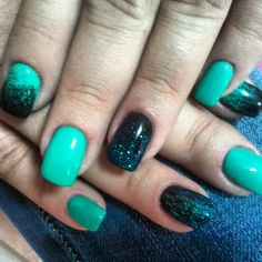 Green and black with some glitter