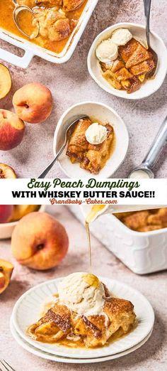 Summer Dessert Recipes, Fun Desserts, Delicious Desserts, Fruit Dessert, Yummy Food, Pinterest Recipes, Pinterest Food, Peach Dumplings, Recipe Mix