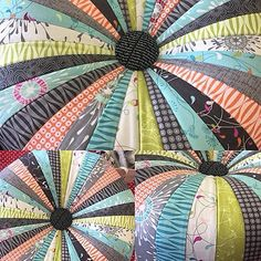 Pouff sewn by Peppermint Stitches, made from the new collection FLOW by Zen Chic for Moda
