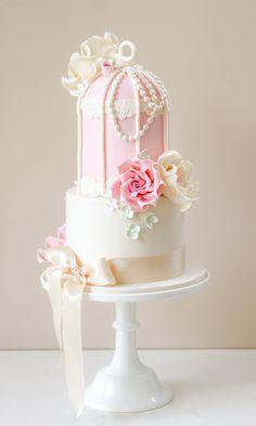 Romantic birdcage wedding cake