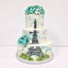 Another cake my sister would love...but with pink flowers instead.