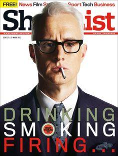 "Great headline joke on this new Mad Men cover ShortList magazine: ""Europe's Largest Upmarket Men's Magazine."""