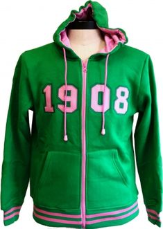 Buffalo Dallas Alpha Kappa Alpha 1908 Applique Ladies Zip-Up Hoodie [Green - XS] Aka Sorority, Alpha Kappa Alpha Sorority, Sorority Life, Sorority Outfits, Alpha Female, Fraternity, Hoodies, Sweatshirts, Zip Hoodie