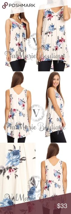 """White Floral Sleeveless Tunic Top 🇺🇸MADE IN USA- Floral printed, sleeveless long body top in a relaxed fit, with a v-neck, hi-lo hem, and pleats. Stretchy and soft! S(2-4) M(6-8) L(10-12) XL(14-16)  Bust laying flat: S 16.5"""", M 17.5"""", L 19"""", XL 19.5"""" - stretches more   Apprx Length: 29"""" in the front Hi hem. 32"""" in the back low hem.   Content: 95% Rayon, 5% Spandex ValMarie Boutique Tops"""