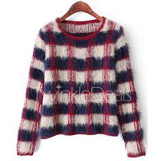 Elegant Jewel Neck Long Sleeve Plaid Sweater For Women