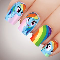 Cut the pattern and soak it into water for seconds. Soak up the excess water with a paper towel or wipe. Slide decal off the backing paper and place onto the nail - The backing paper side is the side that adheres to the nail. Nail Art Designs Videos, Cute Nail Designs, Cartoon Nail Designs, Rainbow Dash, Rainbow Nail Art, New Years Eve Nails, Water Nails, Nails For Kids, Unicorn Nails