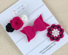 Pink Black Felt Flower Bow Headband or Hair by LovebugLullabies