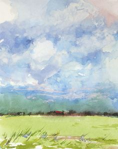 Miniature watercolor cloudscape no. 2 by Jake Marshall. © 2014