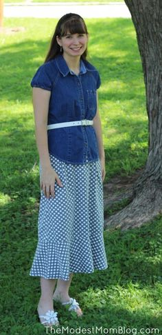 The Modest Mom Fashion Outfit - Polka Dot skirt and jean shirt