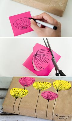 Love this beautiful way of decorating brown paper with post it note art