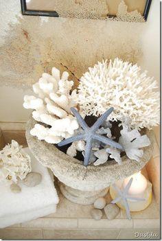 15 Bathroom Storage Solutions and Organization Tips 4 - Diy & Crafts Ideas Magazine Beach Cottage Decor, Coastal Cottage, Coastal Style, Coastal Decor, Coastal Colors, Shell Display, Playa Beach, Beach Fun, Beach Bungalows
