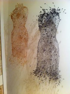 Wire dresses Stencil Wall Art, Collections Of Objects, Paper Fashion, Ap Art, Weird Art, Textiles, Painting Patterns, Art Forms, Textile Art