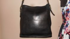"Vintage COACH 11"" 11"" Black Leather Shoulder Bag H7C-9806 USA by COACHCROSSING on Etsy"