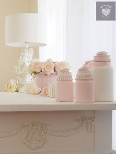 luvmystuff  shabby chic pretty pink painted pots and pretties in luvmystuff home made paint