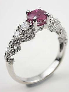 1.25ct solitaire and ruby engagement,wedding ring, 92.5 sterling silver