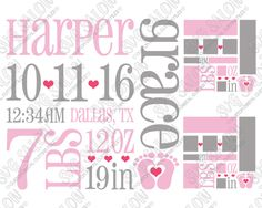 Baby Girl Birth Announcement Template Cut File in SVG, EPS, DXF, JPEG, and PNG