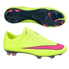 Explosive Speed. Get the Nike Mercurial Vapor X FG Soccer Cleats (Volt/Hyper Pink) at SoccerCorner.com today!
