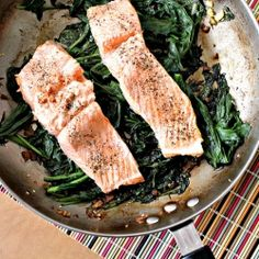 Steamed wild salmon with mizuna, mustard greens, soy sauce, and ginger.