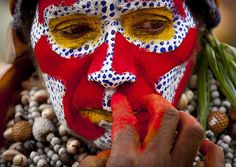 Red make up in Mount Hagen festival singsing - Papua New Guinea