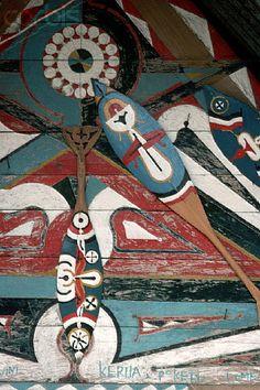 Decorative Djuka Canoe Paddles, Suriname. Found origin of our paddles.