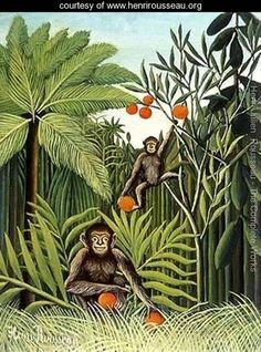 "Henri Rousseau's ""Two Monkeys in the Jungle""; 1909.    https://shop.rings-things.com/cart/pc/Bead-Ojime-Monkey-on-Gourd-3604p26480.htm"