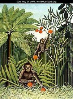 "Henri Rousseau's ""Two Monkeys in the Jungle""; 1909.    https://shop.rings-things.com/cart/pc/Bead-Ojime-Monkey-on-Gourd-3604p26480.htm"