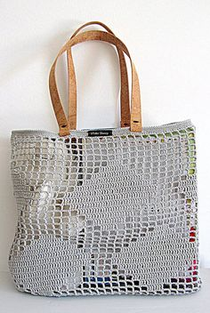 Handmade Light Grey CROCHET Bag-Tote with CORK SKIN Handles // Bag with rhombus pattern// Shoulder handles Eco-friendly and hypoallergenic