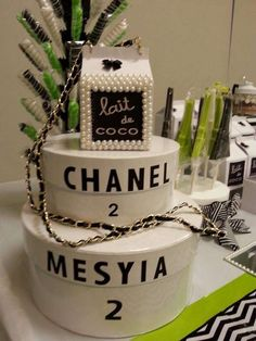 Chanel birthday party decorations! See more party planning ideas at CatchMyParty.com!