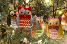 Adorable owl ornaments!  Easy craft for beginning sew-ers.