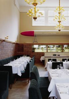 Pauly Saal ranks among the best restaurants in Berlin. Located inside the former Jewish Girls' School in Mitte, the kitchen has agreements with small, local producers, farmers, fishermen and hunters who deliver fresh ingredients directly to Pauly Saal. Berlin Food, Berlin City, Berlin Berlin, Cafe Restaurant, Jewish Girl, Berlin Germany, Visit Germany, Exposed Brick, Sweet Home