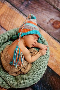 Boy Girl Newborn Knit Baby Hat BaBY PHoTO PRoP Unisex RYaN RoBot Tassel Beanie FCN Newborn PiXIE ToQUE Aqua Grey Orange stripe CHooSE CoLORS on Etsy, $32.00