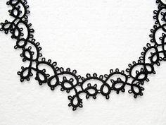 Collier dentelle noire, bijoux collier noir, collier gohique, collier crochet, tour de cou dentelle noire : Collier par carmentatting