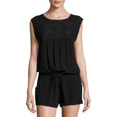 L Space Carly Sleeveless Romper (240 BAM) ❤ liked on Polyvore featuring jumpsuits, rompers, black, playsuit romper, sleeveless rompers and sleeveless romper