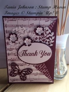 Tania Johnson : Stamp Haven, Musical Thank You, Stampin' Up! Bloomin Love, Bold Butterfly, Sheet Music, Rich Razzleberry