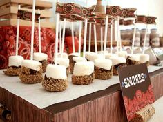 cute western smores on stick ...for dessert bar at an informal wedding.