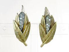 Vintage BSK Gold Tone Clear Rhinestone Cattail Clip Earrings