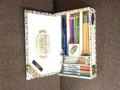 Brendan's art supply cigar box Cigar Box Diy, Empty Cigar Boxes, Cigar Box Crafts, Cigar Box Purse, Altered Cigar Boxes, Diy Box, Cigar Box Projects, Fun Projects, Art Supply Box