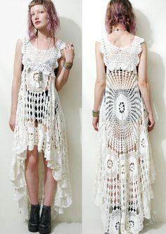 Crochet vestido VINTAGE encaje blanco cola de por cruxandcrow